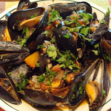 Mussels in Half Shells With Cilantro and Tomato
