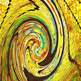 Stain Glass by Brenda Hooper - Abstract Patterns ( red, green, gold, stain glass )