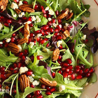 Mixed Baby Greens with Pomegranate Seeds, Gorgonzola and Pecans