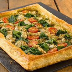 Chicken, Spinach And Pesto Puff Pastry Open Tart