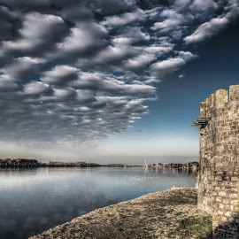 Smederevo, Serbia 007 by IP Maesstro - Buildings & Architecture Public & Historical ( clouds, water, smederevo, sky, hdr, fortress, waterscaoe, serbia, birds, river )