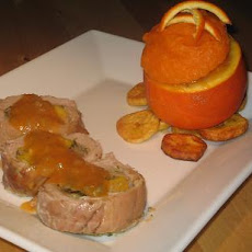 Caribbean Stuffed Pork With Orange Sweet Potatoes and Plantains