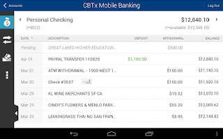 Screenshot of CBTx Mobile Banking