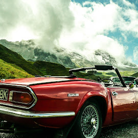 Spitfire in the Alps by Jonathan Kubiak - Transportation Automobiles ( mountains, triumph spitfire, red, classic car, sports car, france, italy, spirfire, cormet de rosilende, triumph,  )