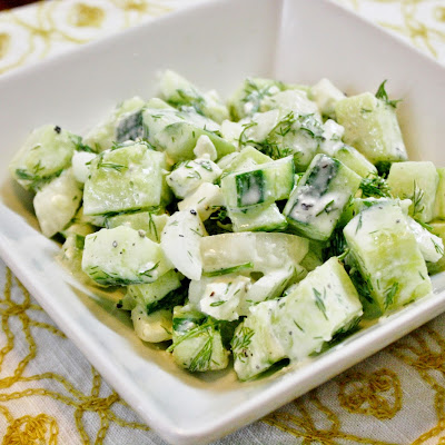 Cucumber, Onion, And Feta Salad With Yogurt Dressing