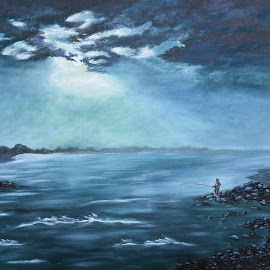 MOONLIGHT  PICNIC by Ravi Kant Khanna - Painting All Painting