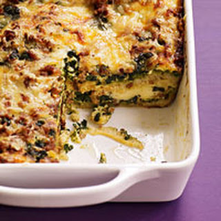 Spinach Pesto and Sausage Strata