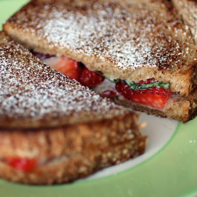 Mascarpone, Strawberry, and Basil Grilled Cheese Sandwiches