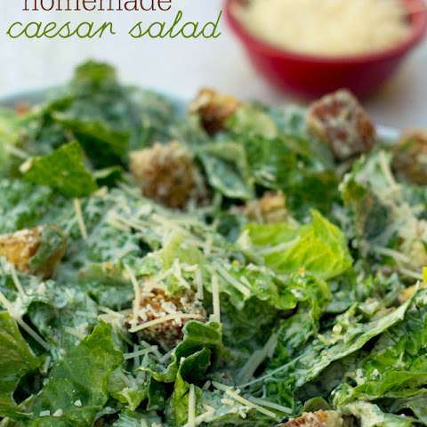 Homemade Caesar Salad with homemade Croutons