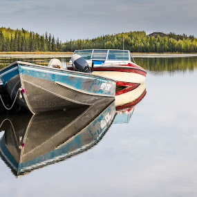 Serene Lake by Serge Skiba - Landscapes Waterscapes ( calm, water, reflection, territory, canada, waterscape, afternoon, yellowknife, reflections, northwest, lake, still, boat, dock, autumn, territories, moored, tied, vee, pond )