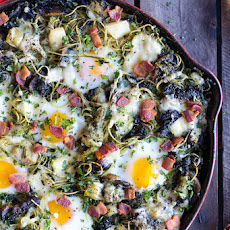 Fontina Spinach and Artichoke Breakfast Pasta Hash