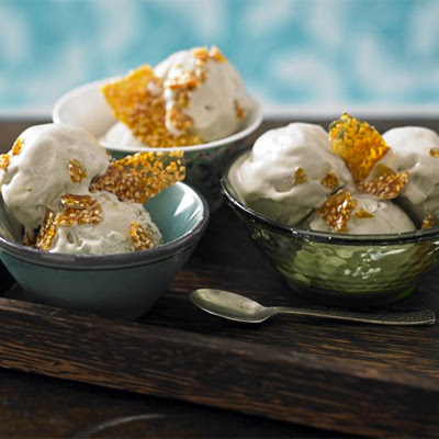 Green Tea Frozen Yogurt With Sesame Brittle Shards