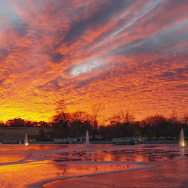 Brilliant Water & Sky 4 by Jordan Chapell - Landscapes Sunsets & Sunrises ( water, reflection, forest park, park, fountains, saint louis, sunset, fountain )