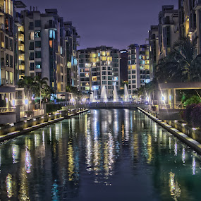 Night reflections by Aleksey Maksimov - Buildings & Architecture Other Exteriors ( water, buildings, reflections, night, canal,  )
