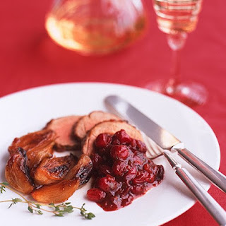 Apricot Pork Tenderloin with Cranberry Black-Pepper Sauce