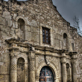 Remembering by Barry Blaisdell - Buildings & Architecture Public & Historical ( building, alamo, old, texas, san antonio, door, stone, old door, mission, missionary, wood door, historical, spanish mission )