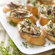 Shiitake Ragoût on Chèvre Crostini