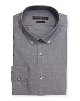 John Varvatos Star USA Slim Fit Long-Sleeve Poplin Dress Shirt, Smokey Quartz - (17.5 34/35)