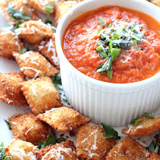 Fried Ravioli with Cheesy Marinara Dipping Sauce