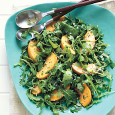 Arugula and Peach Salad with Creamy Chive Vinaigrette