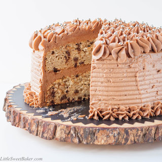 Banana Chocolate Chip Cake with Milk Chocolate Buttercream