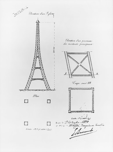 It would have four columns of latticework girders, separated at the base and coming together at the top, and joined to each other by more metal girders at regular intervals.