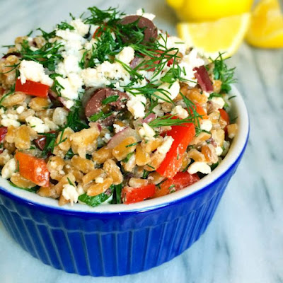 Farro Greek Salad with Feta and Dill