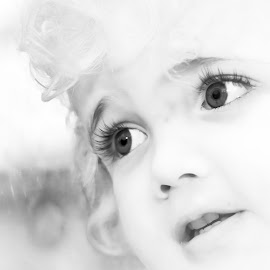 Rainy Day Wishes by Roberta Janik - Babies & Children Child Portraits ( child, rainy day, wishes, black and white, male, beautiful eyes, high key portrait,  )