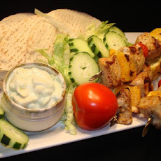 Pork Skewers With Avocado Tzatziki Sauce