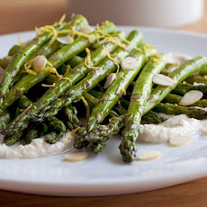 Healthy Roast Asparagus with Creamy Almond Vinaigrette