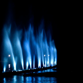rhythmic blue by Jayanti Chowdhury - City,  Street & Park  Fountains ( laser show, low light, night, musical fountain, slow shutter )