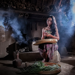 Balinese Beauty II by Nyoman Sundra - People Portraits of Women ( bali, traditional, beauty, kitchen, women, people )