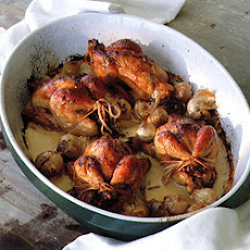 Chicken with Onions, Calvados, and Cream