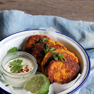 Spicy Pumpkin, Peanut and Spring Onion Fritters (gf)