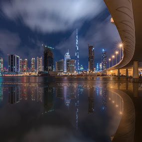 Dubai city by Walid Ahmad - Buildings & Architecture Bridges & Suspended Structures ( dubai, uae, night, landscape, city )