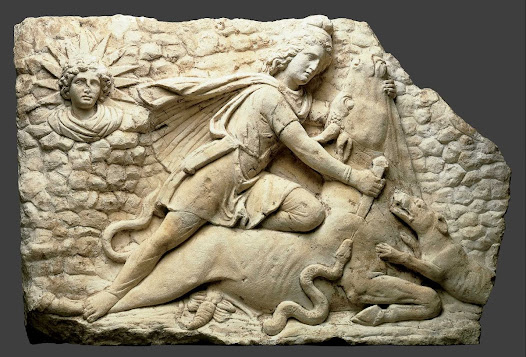 "The myth of the Roman deity Mithras does not survive in its entirety in any written documents. Our only knowledge of this figure comes from reliefs such as this one and mentions in other literary texts. Temples dedicated to Mithras were always underground and all featured a relief of Mithras killing the bull, known as the ""tauroctony."" Why would killing a bull be seen as an important feat?"