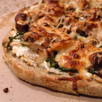 Pizza Bianca with Arugula, Bacon and Mushrooms