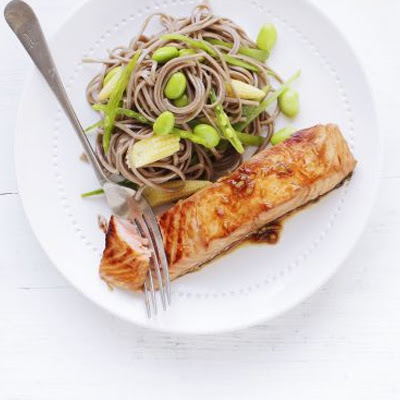Soy & Ginger Salmon With Soba Noodles