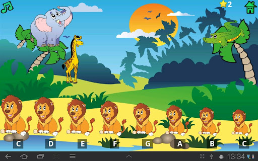 孩子们有趣的动物由于钢琴