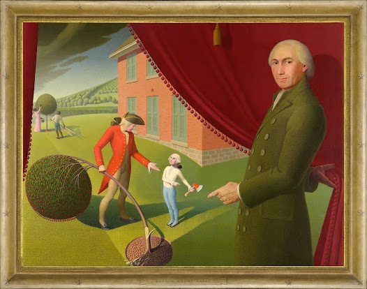 Here Grant Wood playfully interpreted Mason Locke Weems's legendary fable about George Washington's inability to tell a lie to his father after chopping down the cherry tree.