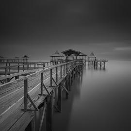 Kenjeran Dock by Van Condix - Black & White Landscapes ( black and white, bw, sea, bridge, dock )