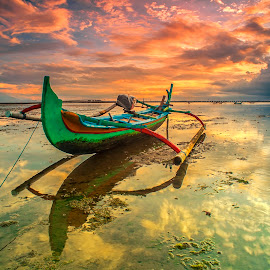 The Green Boat by Bayu Adnyana - Transportation Boats ( bali, reflection, tuban, boat, landscapes )