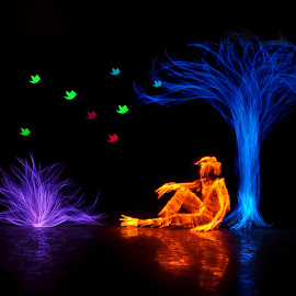 Lightpainting by Jeswin Rebello - Abstract Light Painting ( color, lightpainting, trees, night, longexposure, man )