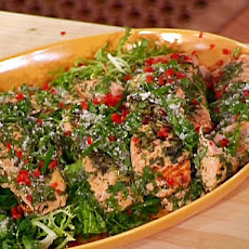 Herbed Pan Roast of Salmon with Warm Greens and Herb Vinaigrette