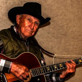 91 year old cowboy by Esther Lane - People Portraits of Men ( old, cowboy, guitar, men, guitar player,  )