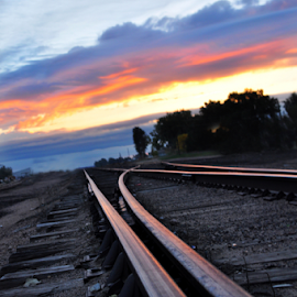 Rails by Carrie Schneider - Landscapes Travel ( small town, sunrises, railroad, travel, trains )