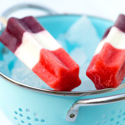 Red, White and Blue Firecracker Popsicles