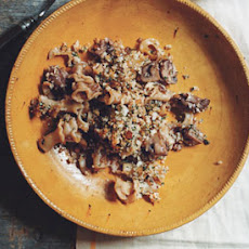 Pasta and Mushrooms with Parmesan Crumb Topping