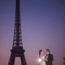 Stop the Pigeons by Marius Igas - Wedding Bride & Groom ( love, pigeon, eiffel tower, paris, wedding, bride, groom, couples )