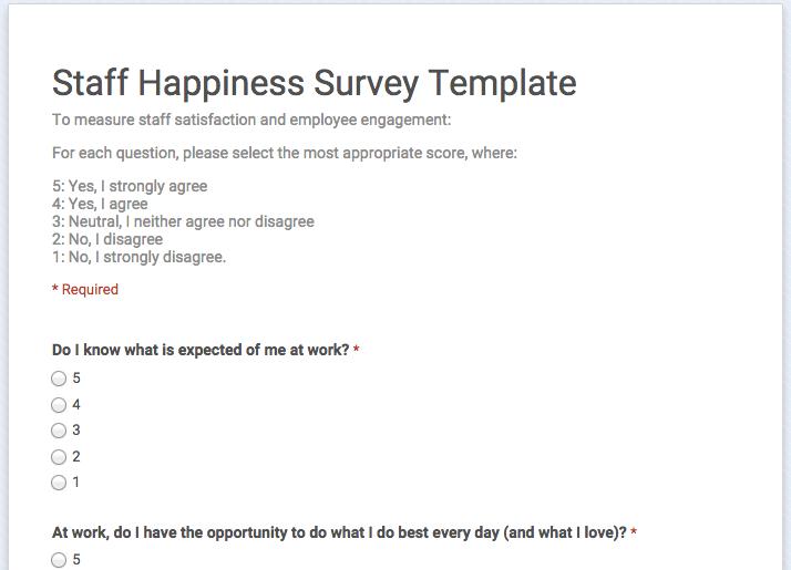 staff satisfaction survey template .